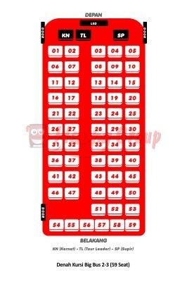 DENAH SEAT - Denah Kursi Big Bus 2-3 (59 Seat)