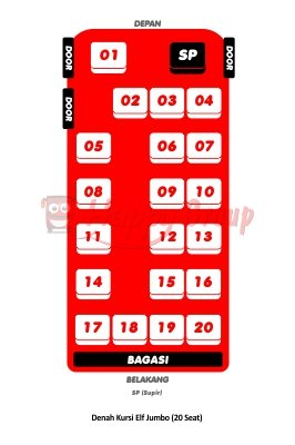 DENAH SEAT - Denah Kursi Elf Jumbo (20 Seat)