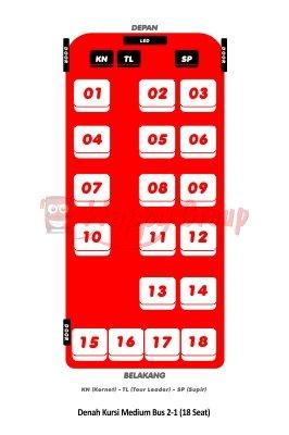 DENAH SEAT - Denah Kursi Medium Bus 2-1 (18 Seat)