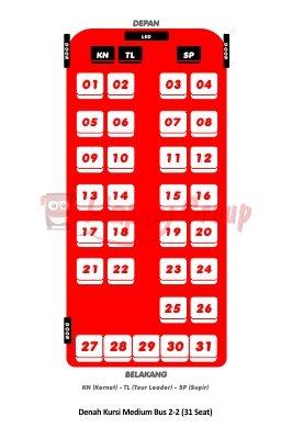 DENAH SEAT - Denah Kursi Medium Bus 2-2 (31 Seat)