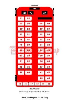 Denah Kursi Big Bus 2-2 (50 Seat)